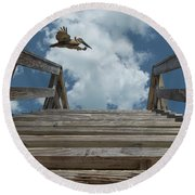 Fly By At The Beach - Brown Pelican And Rustic Stairs Round Beach Towel
