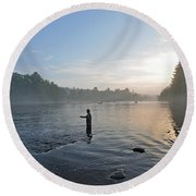 Fly Fishing 2 Round Beach Towel