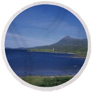 Fly Fishing  By Ardvreck Castle Loch Assynt Scotland Round Beach Towel