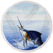 Fly Fishing For Sailfish Round Beach Towel