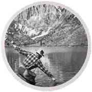 Fly Fishing In A Mountain Lake Round Beach Towel