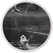 Fly Fishing In Black And White Round Beach Towel