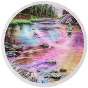 Fly Fishing In River At Sunrise Round Beach Towel