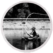 Fly Fishing Lesson Round Beach Towel