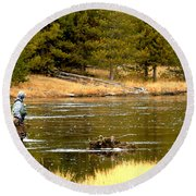Fly Fishing On The Madison Round Beach Towel