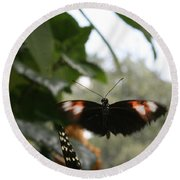 Fly Free - Black, Orange, White Butterfly Round Beach Towel