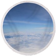 Fly Over Washington And Mount Rainier Round Beach Towel