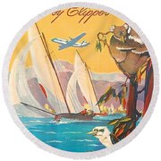 Fly To Australia And New Zealand, Airline Poster Round Beach Towel