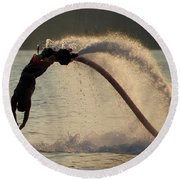 Flyboarder About To Enter Water With Hands Round Beach Towel