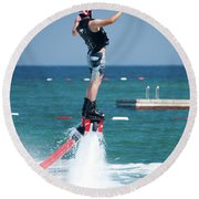 Flyboarder Falling Backwards Next To Swimming Platform Round Beach Towel