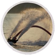 Flyboarder Only Showing Feet After Semi-circular Dive Round Beach Towel
