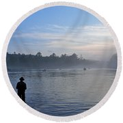 Flyfishing In Maine Round Beach Towel
