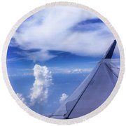 Flying Above The Clouds Round Beach Towel