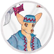 Flying Chihuahua's Round Beach Towel