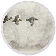 Flying Ducks Round Beach Towel