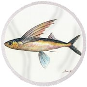 Flying Fish Round Beach Towel