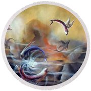 Flying Fishes Round Beach Towel