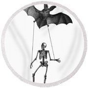 Flying Bat With Skeleton On A String Round Beach Towel