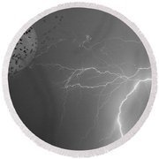Flying From The Storm Bw Round Beach Towel