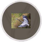Flying Great Blue Heron Round Beach Towel