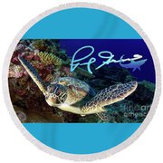 Flying Green Turtle With Logo Round Beach Towel