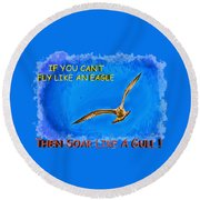 Flying Gull Round Beach Towel