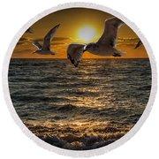 Flying Gulls At Sunset Round Beach Towel