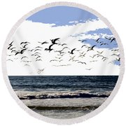 Flying Gulls Round Beach Towel
