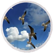Flying High In The Clouds Round Beach Towel