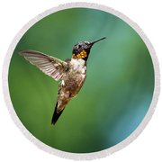Flying Hummingbird Round Beach Towel