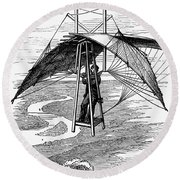 Flying Mans Parachute Round Beach Towel