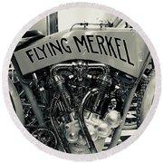 Flying Merkel Round Beach Towel