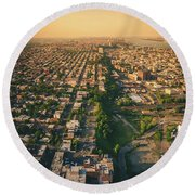 Flying Over Jersey City Round Beach Towel