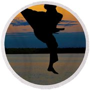 Flying Over Muskegon Lake Round Beach Towel