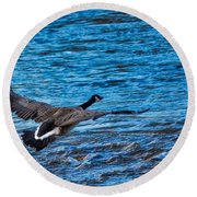 Flying Over Rough Waters Round Beach Towel