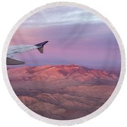 Flying Over The Mojave Desert At Sunrise Round Beach Towel