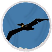Flying Pelican Round Beach Towel