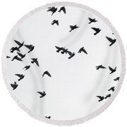 Flying Pigeons Round Beach Towel