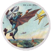 Flying Policemen, 1900s French Postcard Round Beach Towel