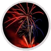 Flying Prom Fireworks Round Beach Towel