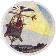 Flying Sentinel, 1900s French Postcard Round Beach Towel