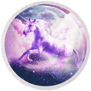 Flying Space Galaxy Unicorn Round Beach Towel