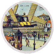 Flying Taxicabs, 1900s French Postcard Round Beach Towel