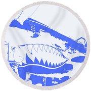 Flying Tiger Blue Round Beach Towel