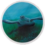 Flying Turtle Round Beach Towel
