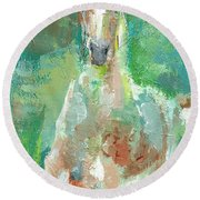 Foal  With Shades Of Green Round Beach Towel