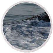 Foam On The Rocks Round Beach Towel