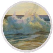 Foaming Waves At Beach Round Beach Towel