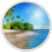 Focus On Palm Tree Round Beach Towel