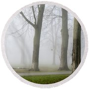 Fog Amongst The Trees Round Beach Towel